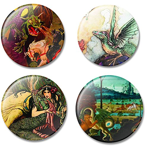 [Fridge Art Magnet Dragons throughout Art History, Set of 4 Refrigerator Magnets with Beautiful Dragon Illustrations, Gift Set for Home or Office, Made in] (Work Out Video Star Costume)