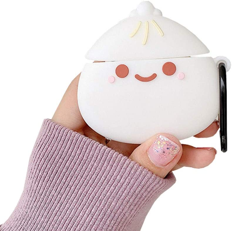 ICI-Rencontrer Super Cute Smile Steamed Buns Airpods Case Creative Food White Steamed Bread Wireless Earphone Shockproof Soft Silicone Protector Skin For Airpods Pro Carabiner