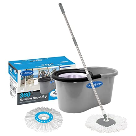 primeway magic spin mop and bucket for 360 degree rotating cleaning with 2 microfiber mop heads