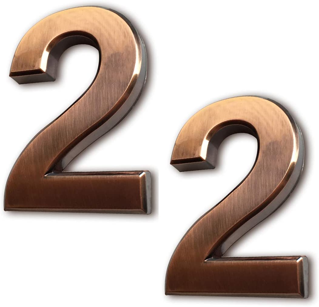 """2 Pcs Self Adhesive Mailbox Numbers 2, 2-3/4 Inch Door Number Stickers for House/Apartment/Home Room/Office/Address Plaque, Bronze/Silver/Golden, by Hopewan. (2.75"""" Double 2, Bronze)"""