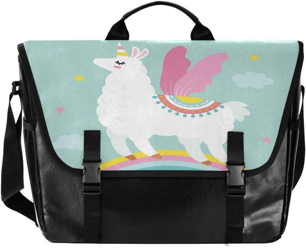 ALAZA Funny Llama Alpaca Unicorn Messenger Bag 15.6 Inch Waterproof Canvas Briefcase