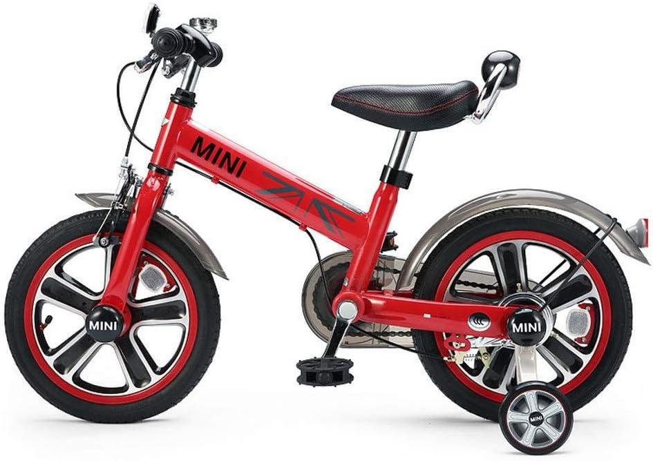 XiangYu Bicicleta para Niños, Material de Aleación de Magnesio, Sistema de Freno de Disco Doble, Manillar y Silla de Montar Ajustables + Rueda Auxiliar Antideslizante