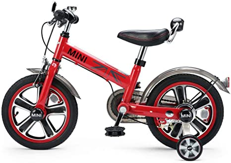 XiangYu Bicicleta para Niños, Material de Aleación de Magnesio, Sistema de Freno de Disco Doble, Manillar y Silla de Montar Ajustables + Rueda Auxiliar Antideslizante Red-14inch: Amazon.es: Deportes y aire libre