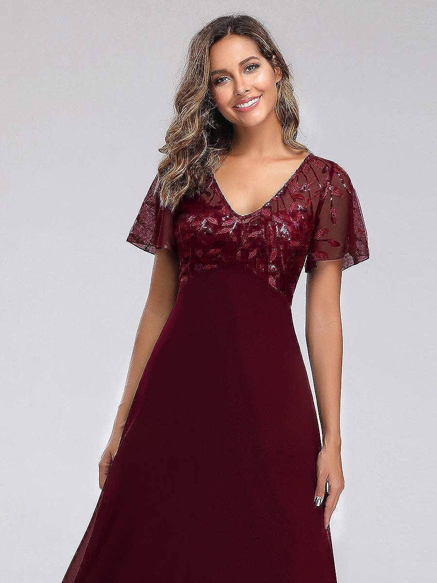 Ever-Pretty Vestito da Cerimonia Donna Linea ad A Paillettes Scollo a V Tulle Maniche Corte Chiffon Stile Impero Lungo EZ07706