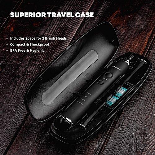 AquaSonic Series Whitening Toothbrush - 8 DuPont Brush Travel Case Included Ultra Sonic 40,000 Motor Wireless Charging - 4 Modes Smart -