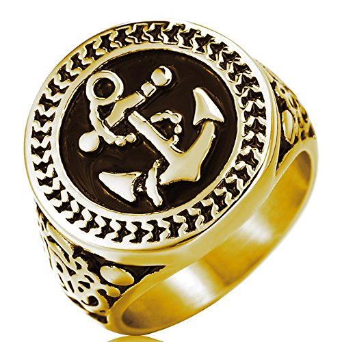 Men's Gothic Stainless Steel Band Rings Vintage Anchor Signet Punk Biker Rings Gold Black Size 12