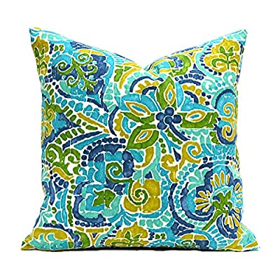 Flowershave357 Outdoor Pillows Outdoor Pillow Covers Decorative Pillows Pillow Cover Turquoise Pillow Richloom Outdoor Destiny Caribbean: Kitchen & Dining