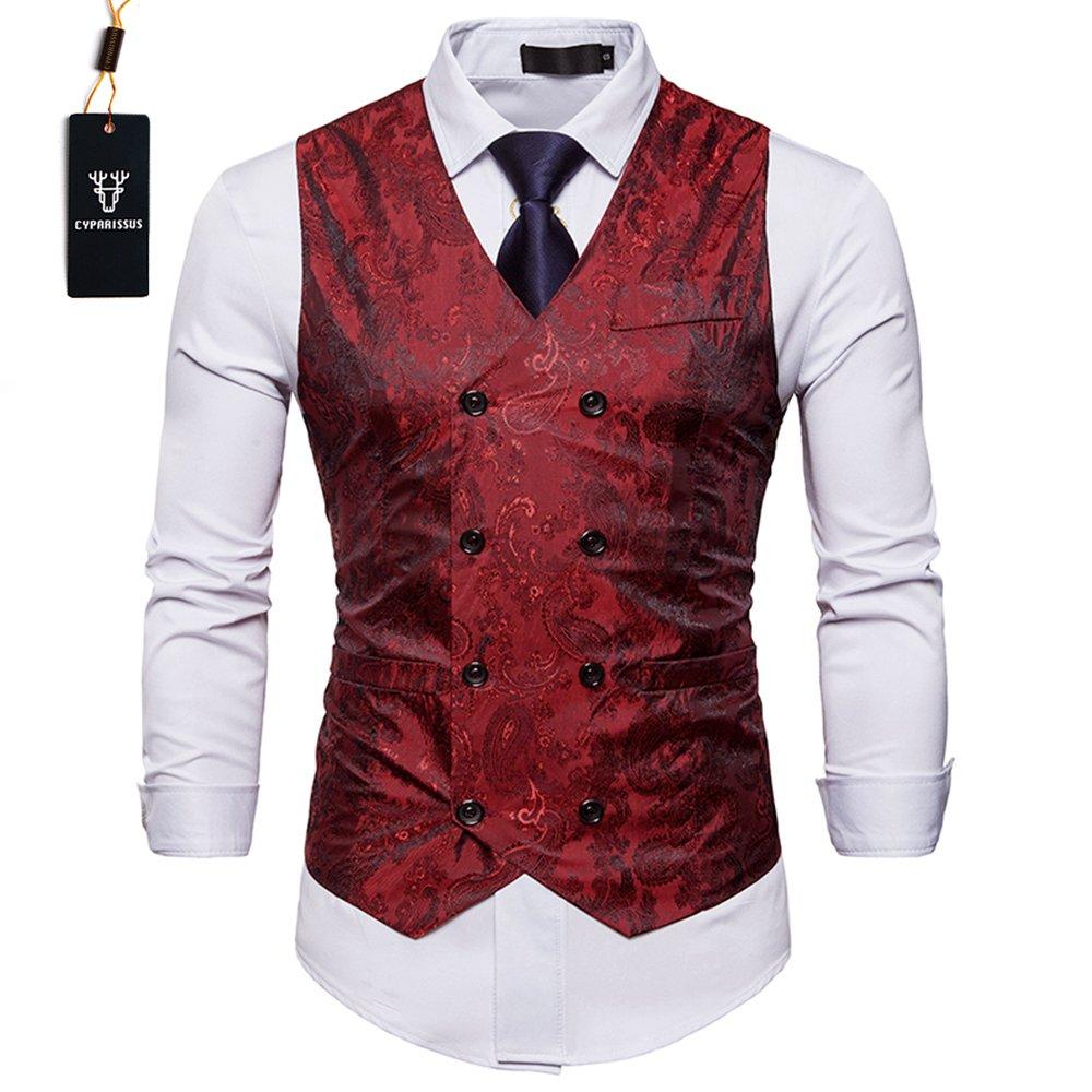 Cyparissus Mens Business Suit Vest Waistcoat Men's Dress Vest or Tuxedo Vest (M, Red)