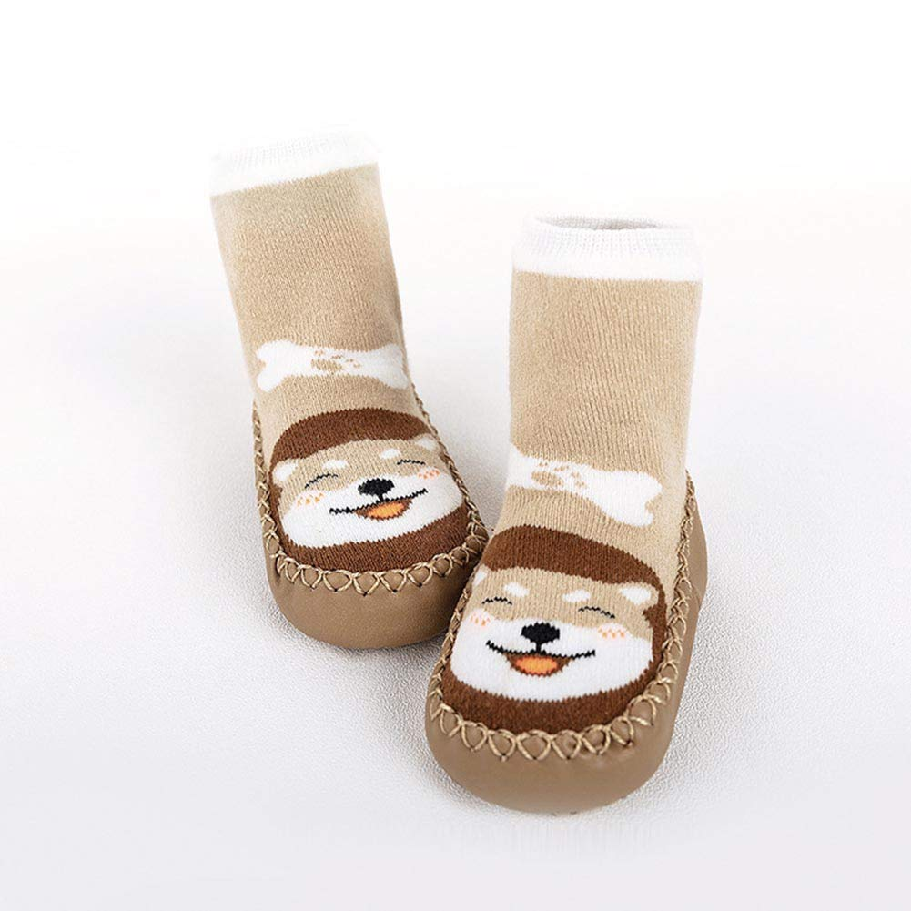 dkDaKanl Huskie Baby Socks Rubber Bottom Anti Slip Toddler Indoor Outdoor 13cm Sole length, Coffee