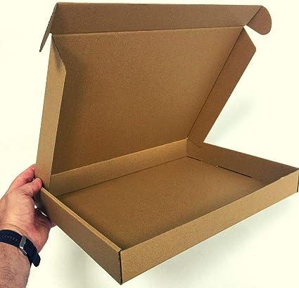 1 Pack de 50 Cajas de Cartón Automontables para Envíos. Caja de Color Marrón y tipo de Cartón Microcanal. Tamaño 39x28,5x5 cm. Fabricadas en España por Cartonajes Alboraya fabricante desde 1957: Amazon.es: