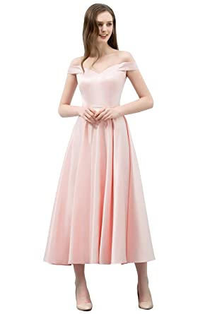 Amazon.com: Womens Elegant Off The Shoulder Pink Satin Evening Prom Dress: Clothing