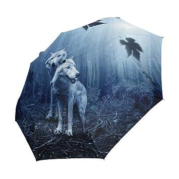 Amazon.com: imobaby Running Wolf The Mist 3 Folds Umbrella ...