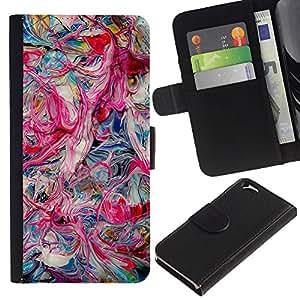 All Phone Most Case / Oferta Especial Cáscara Funda de cuero Monedero Cubierta de proteccion Caso / Wallet Case for Apple Iphone 6 // Pink Oil Colors Teal Pink Dripping Chaos
