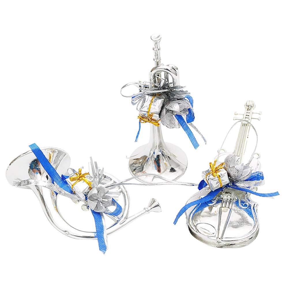 BESTOYARD Arbre de Noël Suspendu Instruments de Musique Pendentif décor Brillant 3pcs (Bleu)