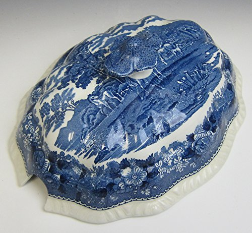 - Adams China ENGLISH SCENIC BLUE SCALLOPED Tureen LID ONLY EXCELLENT