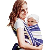 DIDYMOS Woven Wrap Baby Carrier Standard Stripes Blue (Organic Cotton), Size 6