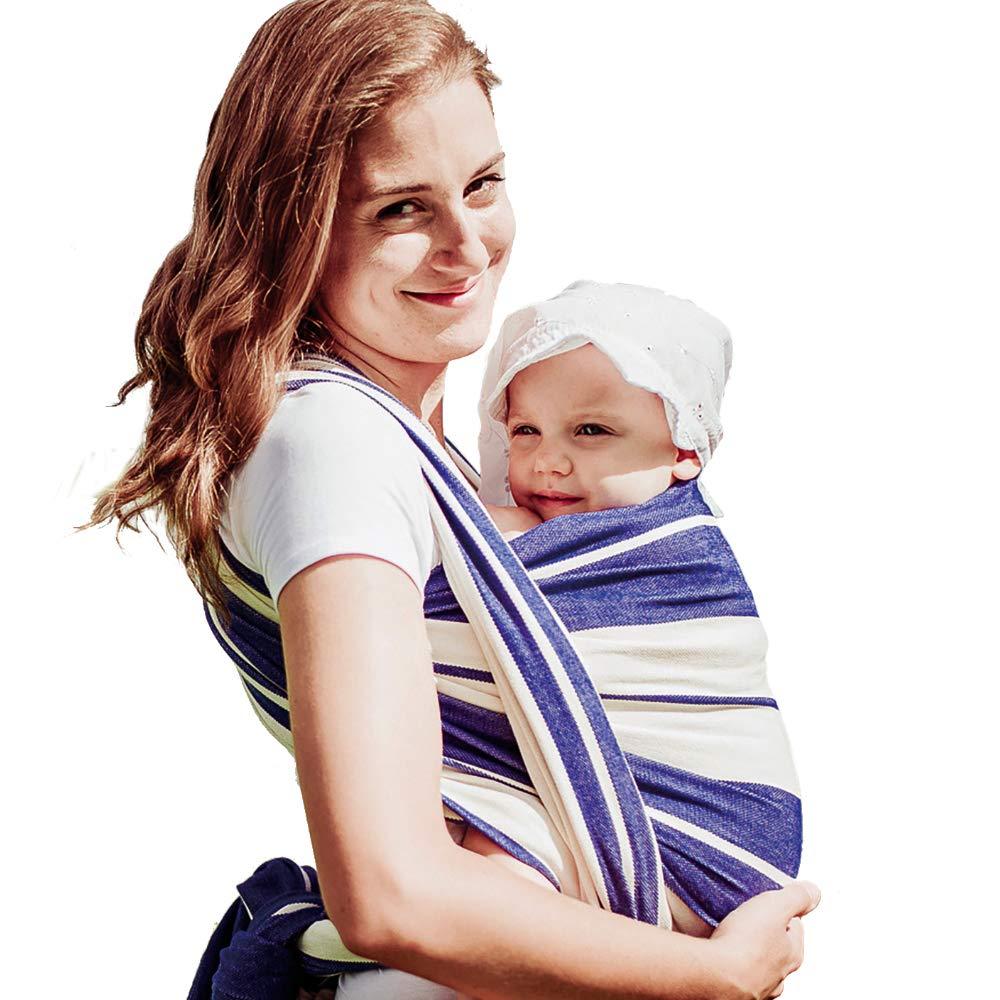 B000YEUREG DIDYMOS Woven Wrap Baby Carrier Standard Stripes Blue (Organic Cotton), Size 6 61gQT09ySUL
