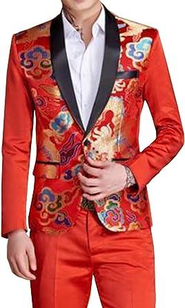 LoveeToo 2 Piece Mens Suit Formal Tuxedos Suit One Button Blazer /& Pants Set