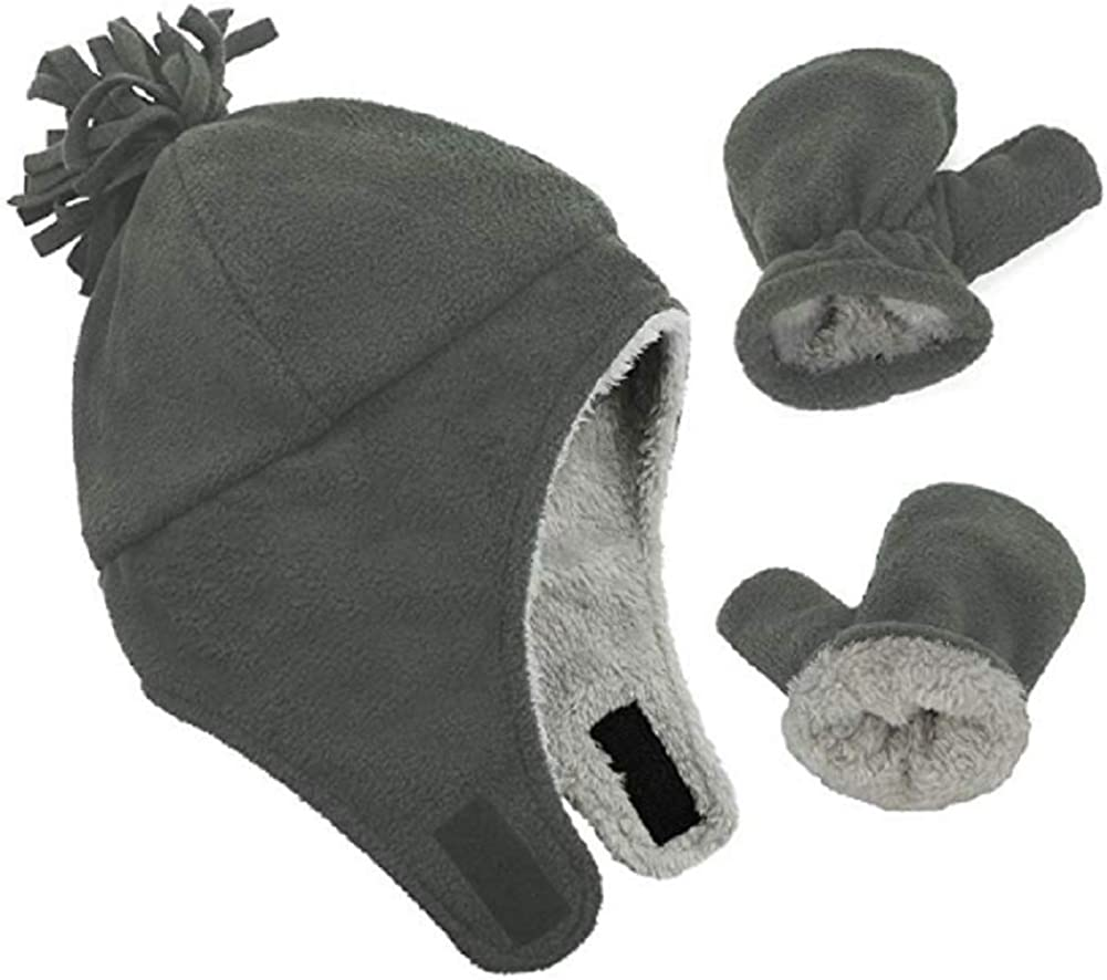 American Trends Baby Hat Baby Mittens Sherpa Lined Fleece Beanie Hat Unisex Tuque Winter Hats for Kids