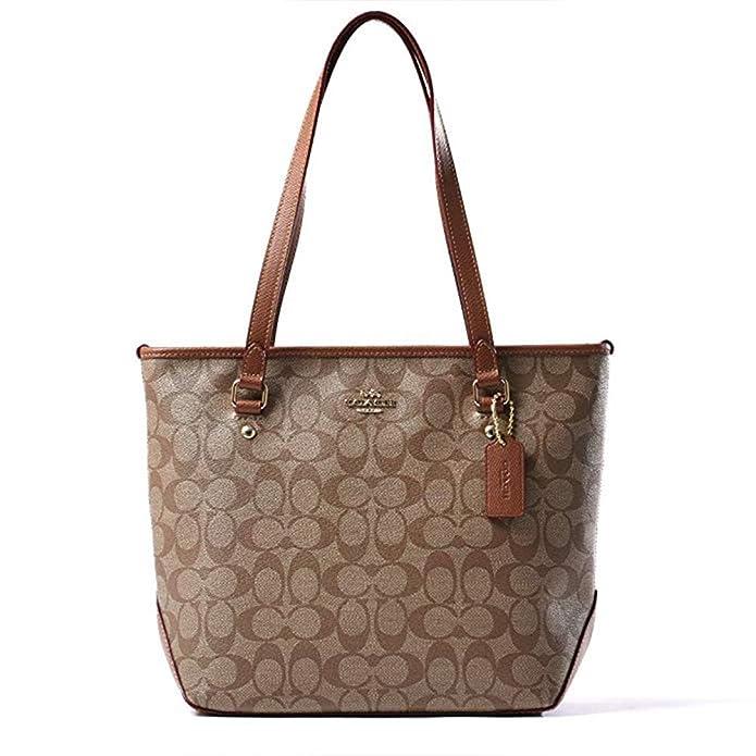 38406e9969 Amazon.com  Coach Women s Signature Zip Tote Bag F34603 (khaki brown  IMBDX)  Shoes