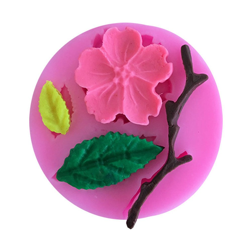 BESTONZON Stampo in silicone Peach Blossom Branch Baking Silica Gel Melassa torta stampo decorazione torta