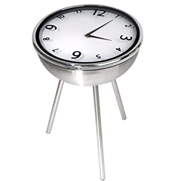 Charming Retro Clock Table Stainless Steel, Side Table, Coffee Table, Bedside Table