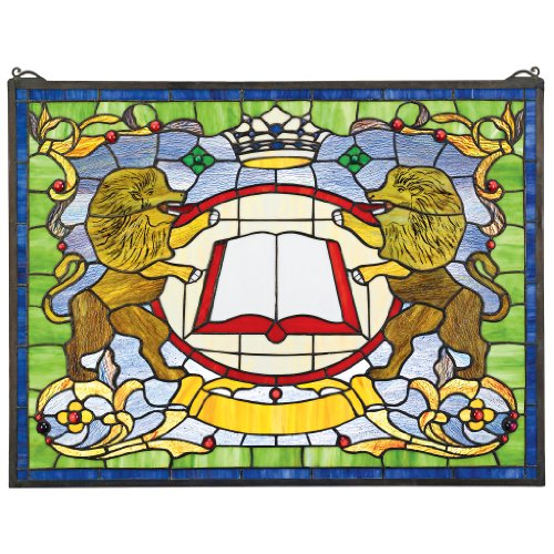 (Stained Glass Panel - Lion Coat of Arms Stained Glass Window Hangings - Window Treatments)