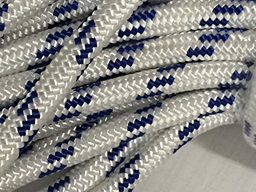 3/4'' X 150' Double Braid Polyester Arborist Bull Rope, White/Blue by Blue Ox Rope