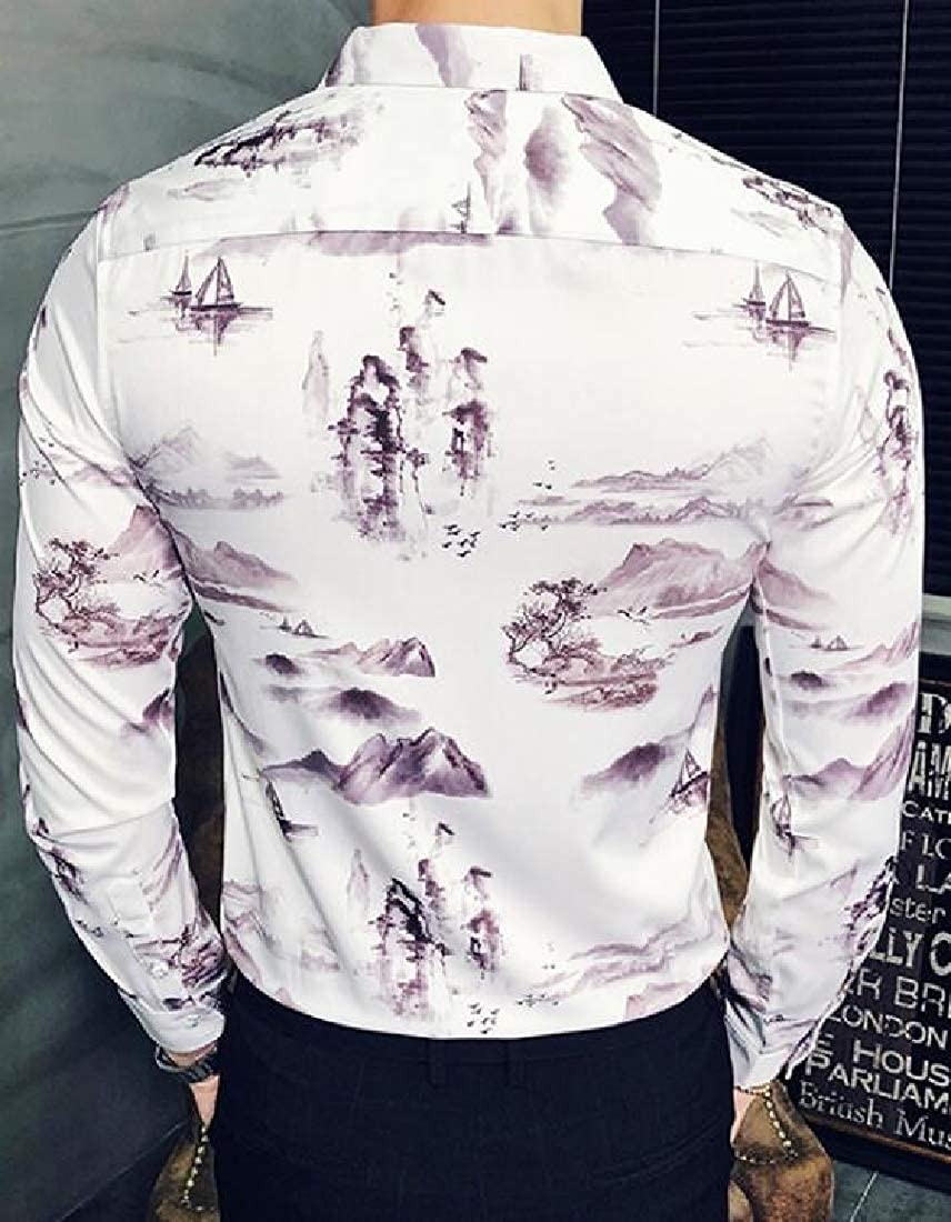 ARTFFEL Men Turn Down Collar Landscape Painting Long Sleeve Hair Stylist Work Regular Fit Button Down Dress Shirts