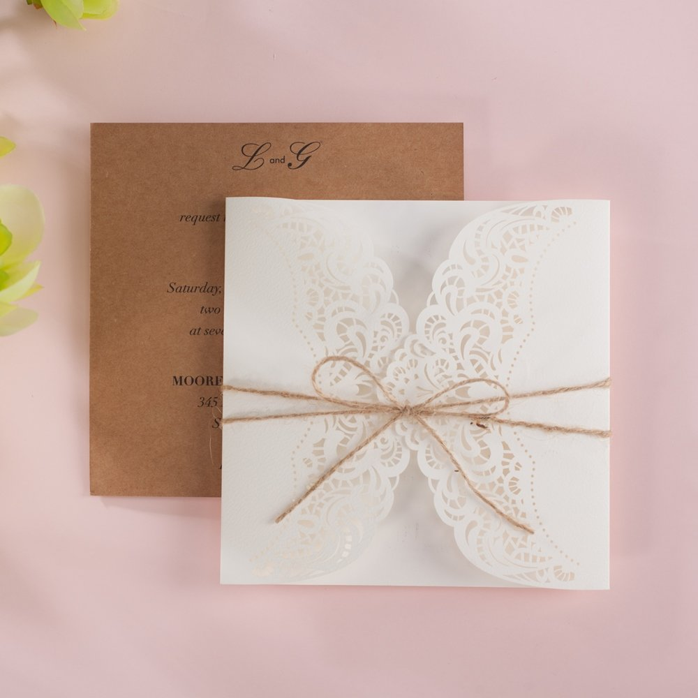 Wishmade 100x Laser Cut Invitations Cards Kit With Rustic Rope For Wedding Party Birthday Occasion AW7512 by Wishmade (Image #2)