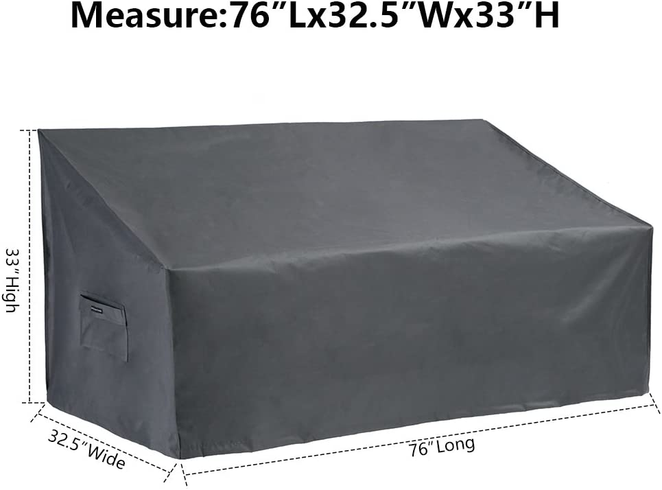 Patio Watcher Medium Outdoor Loveseat Bench Cover, Durable and Waterproof Patio Furniture Sofa Cover, Grey: Garden & Outdoor