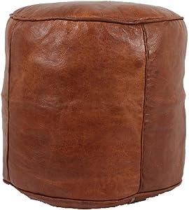 bohemiamarrakech Pouf Unstuffed Leather Pouf Ottoman Pouf Ottoman Brown Morrocan Pouf Ottoman Moroccan Tabouret Leather Pouf Ottoman Luxury Leather Color Brown 18'' Diameter & 16