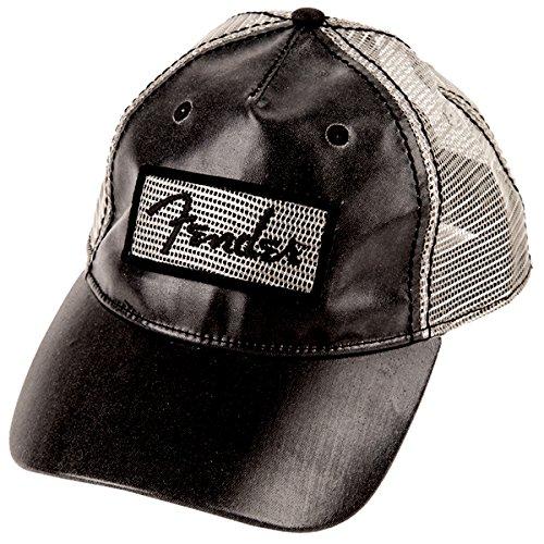 [Genuine Fender Clear Coat Trucker Hat in Black Adjustable snap fit] (Fender Cap)