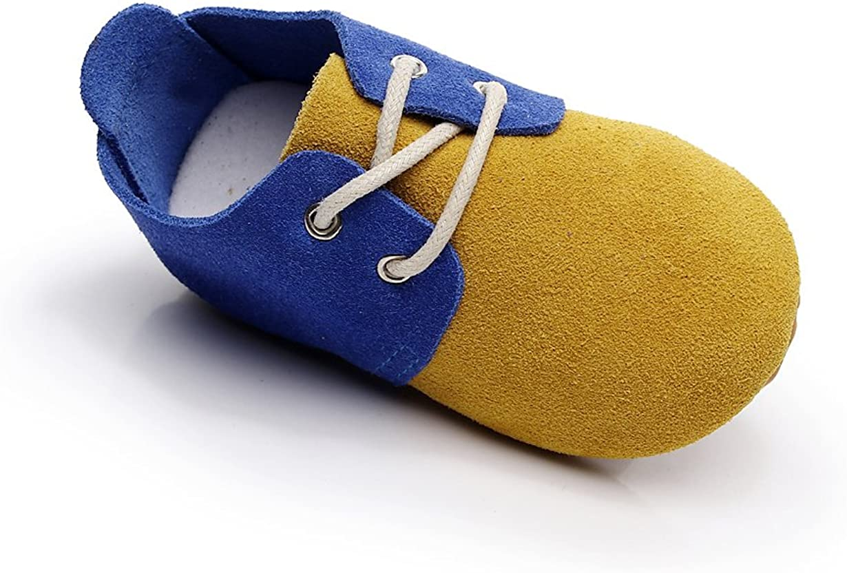 HONGTEYA Genuine Leather Baby Oxford Shoes Hard Soled Suede Babies Toddler Moccasins for Girls Boys