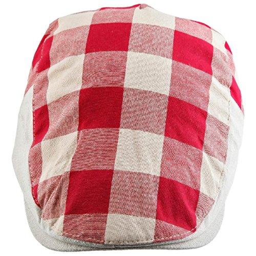 (Samtree Newsboy Cap for Men Women,Plaid Ivy Gatsby Flat Driving Beret Hat(02-Pink+Apricot))