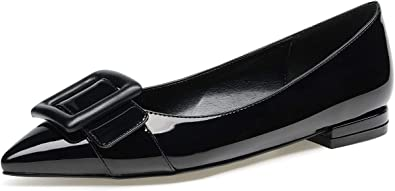 Womens Patent Leather Shoes Round Toe White Loafers Pumps Slip on Casual Flats