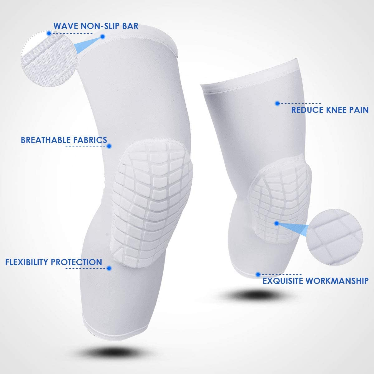 O-Best Knee Pads, 1 Pair Compression Crashproof Volleyball Leg Knee Sleeve Protector Gear