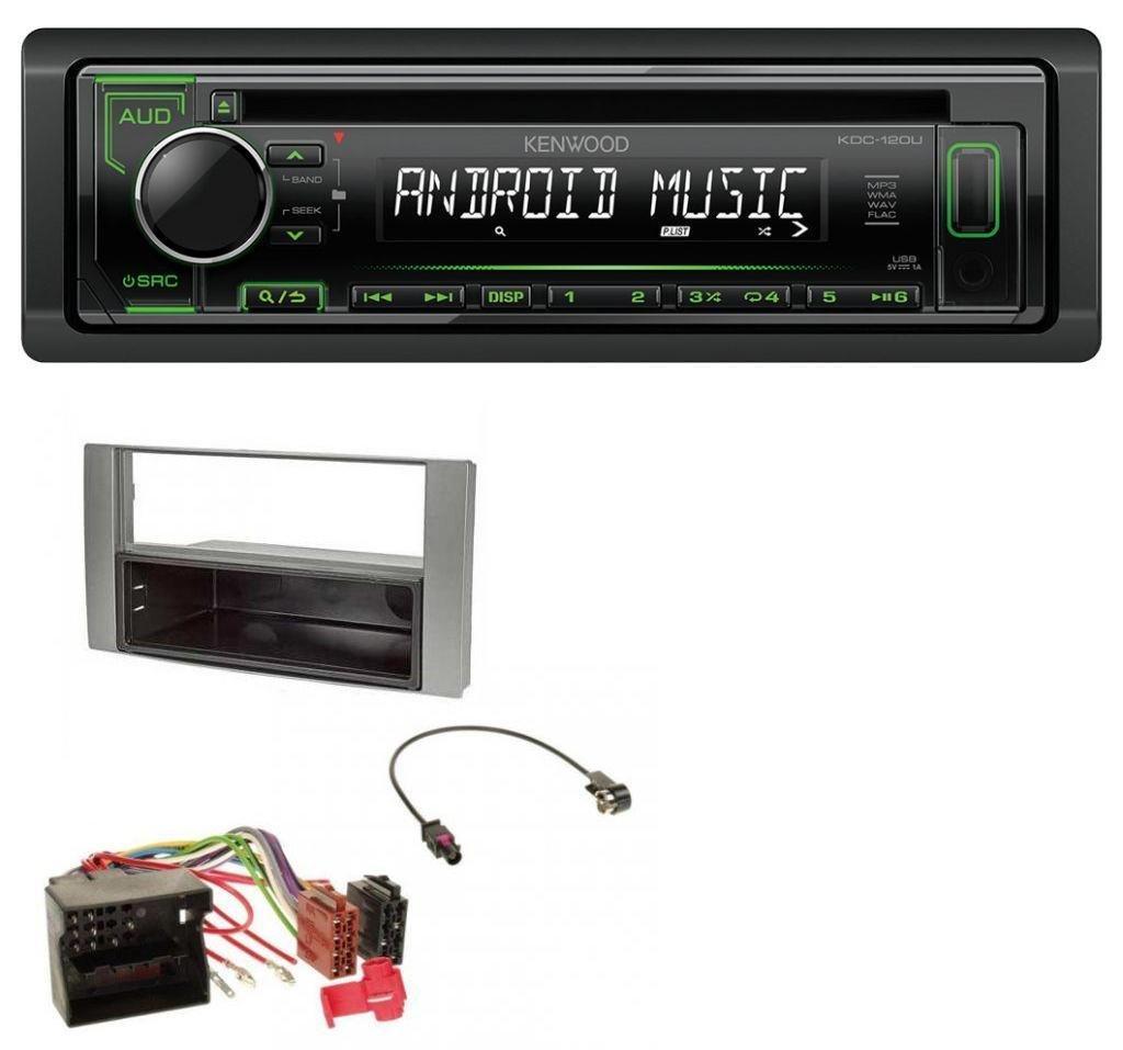 caraudio24 Kenwood KDC-120UG 1DIN USB CD MP3 Aux Autoradio fü r Ford Fiesta Focus 2004-2008 Silber