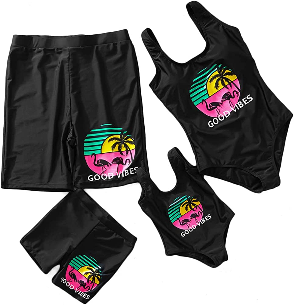 Mother Girl Swimwear Swimsuit Mommy and Me Matching One Piece Beach Wear Bathing Suit Family Letters Print Monokini