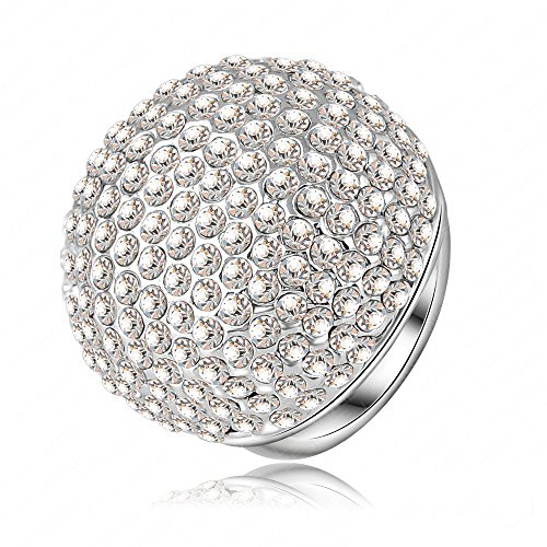 LuckyWeng Halo Micro Pave Small CZ Diamond Cluster Wide Big Dome Statement Ring 14k White Gold Size 7 8 9 -