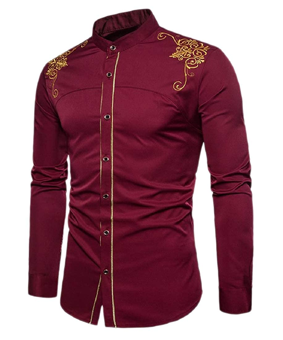 Comaba Mens Fashion Button Embroidery Oversized Court Style Skinny T-Shirts