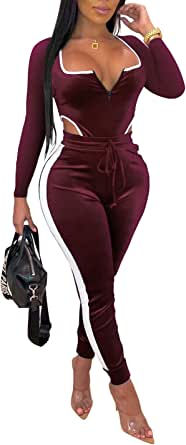 Women's Velvet 2 Piece Outfits Long Sleeve Bodysuit Tops Stretchy Long Pants Jumpsuits Tracksuit Sets