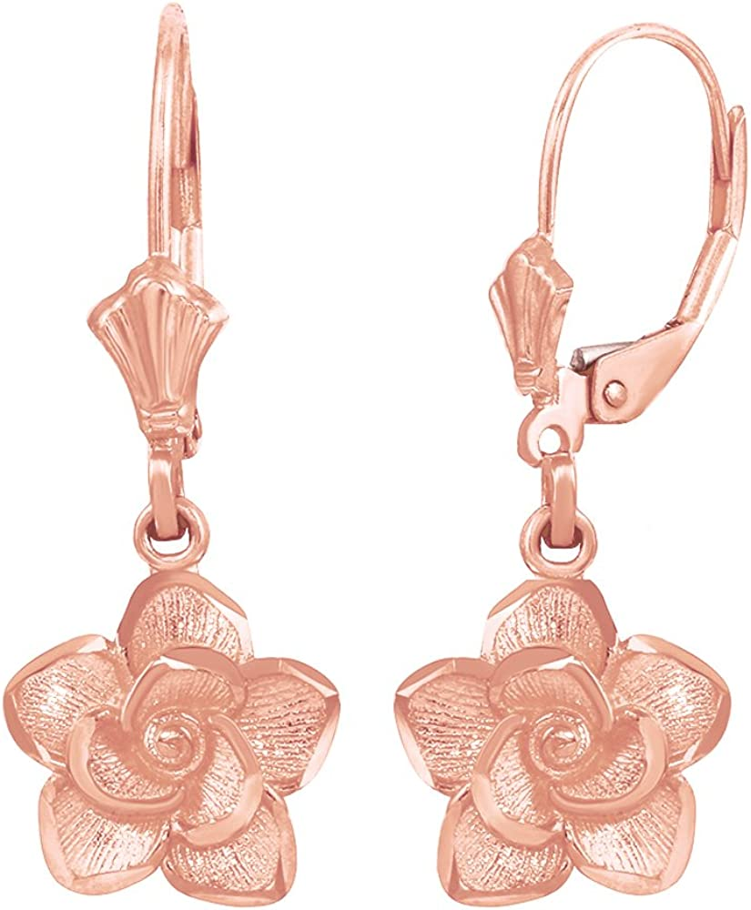 14k Rose Gold Flower Lever-backs for Earrings