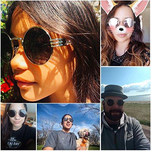 8c9ce79cdd Dollger John Lennon Round Sunglasses Black Steampunk Glasses Gold Metal  Frame Mirror Lens Sunglasses