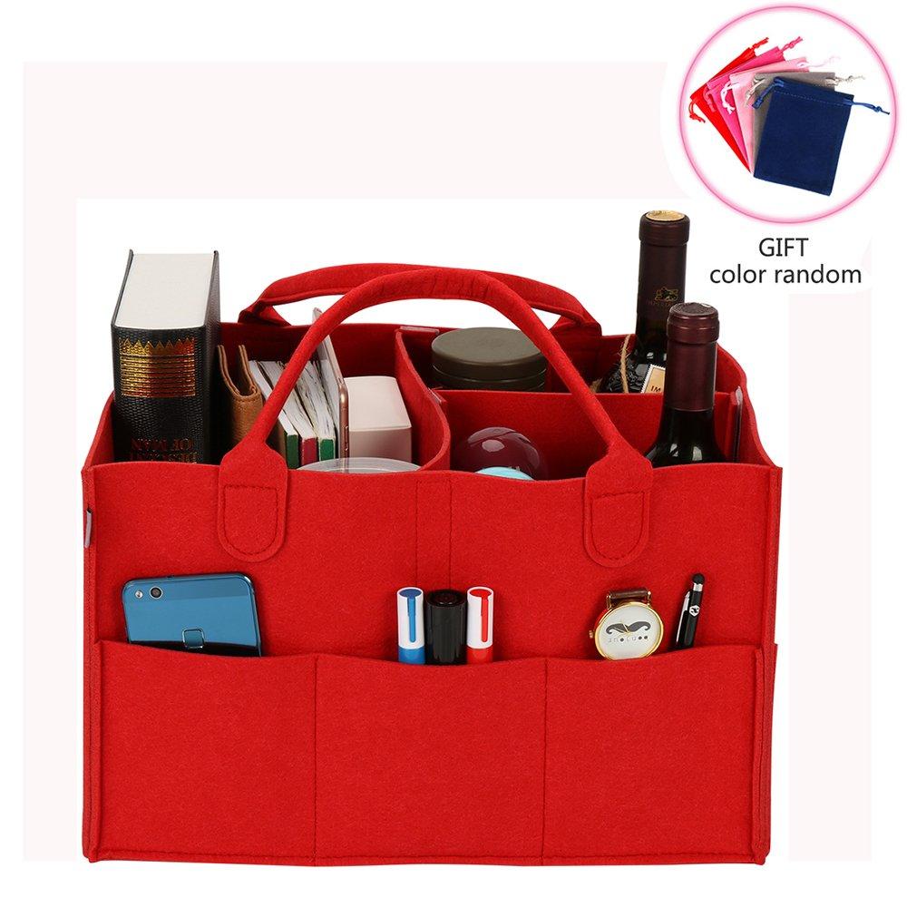 xhorizon SR Felt Insert Fabric Purse Organizer, Handbag Organizer, Backpack Purse and Travel Backpack Multi Pocket Bag in Bag Organizer for Tote & Handbag & Backpack Shaper, Multipocket Insert Bag