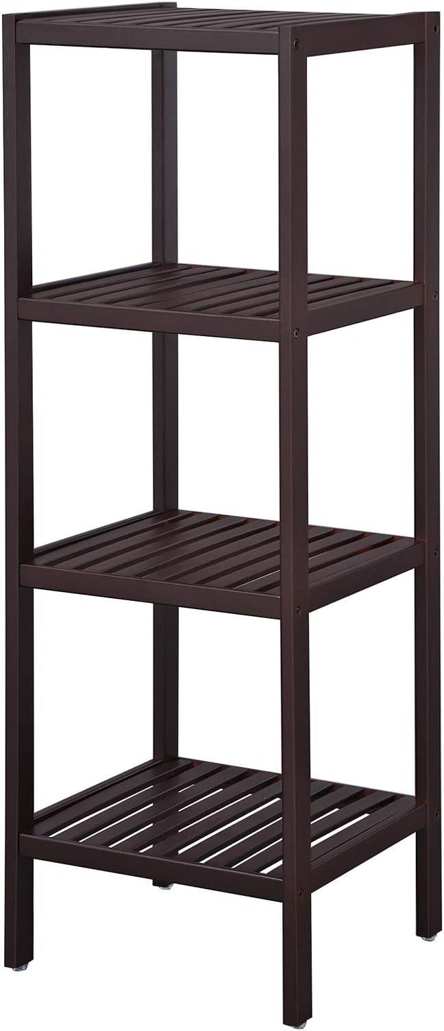 Amazon Com Songmics 100 Bamboo Bathroom Shelf Stand 4 Tier Multifunctional Storage Rack Shelving Unit 38 6 X 13 X 13 Inches Brown Ubcb54c Home Kitchen