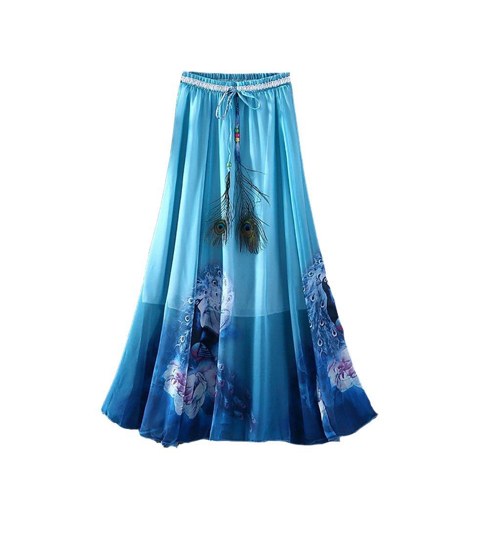 Eleter Girl's Beautiful Flowy Summer Chiffon Long Maxi Skirt (Deep Blue)