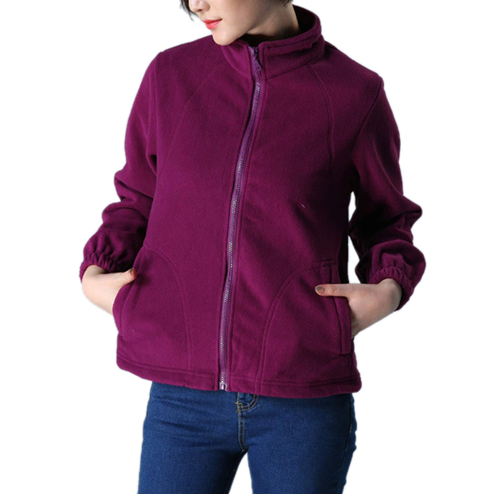 ZumZup Womens Fleece Jacket Full Zip Stand Collar Sportwear Top Outwear Fuchsia Bust 42.5''(Asie 2XL) by ZumZup