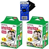 Fujifilm Instax Mini Twin Pack Instant Film -2 pack (40 sheets) for Fujifilm Instax Mini 7s, Mini 8, Mini 9, Mini 25, Mini 50S, Mini 90, SP-1 & SP-2 Smartphone printers + HeroFiber Cleaning Cloth