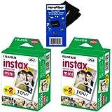 Fujifilm Instax Mini Twin Pack Instant Film -2 pack (40 sheets) for Fujifilm Instax Mini 7s, Mini 8, Mini 9, Mini 25, Mini 50S, Mini 90, SP-1 & SP-2 Smartphone printers + HeroFiber Cleaning Cloth